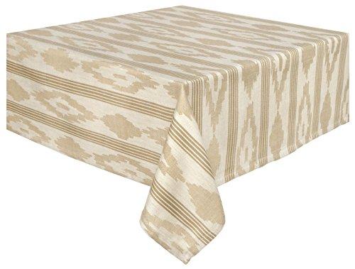 "100% Cotton Natural & Beige Striped Jacquard 60x60"" Tableclo"