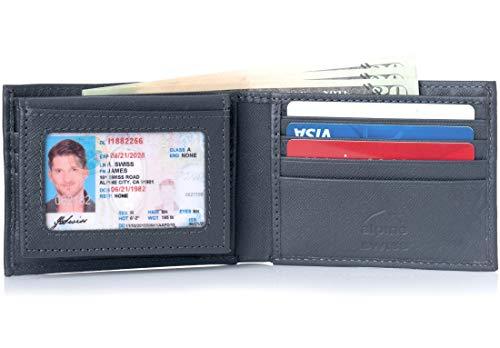 Mens Two Fold Wallet - Alpine Swiss Men's 2-In-1 Bi-fold Wallet & Card Case Grey