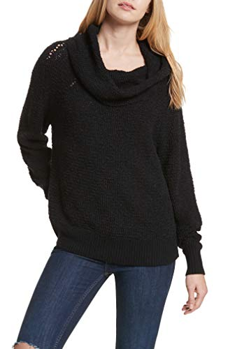 Free People Womens Slouchy Cowl Sweater Black M