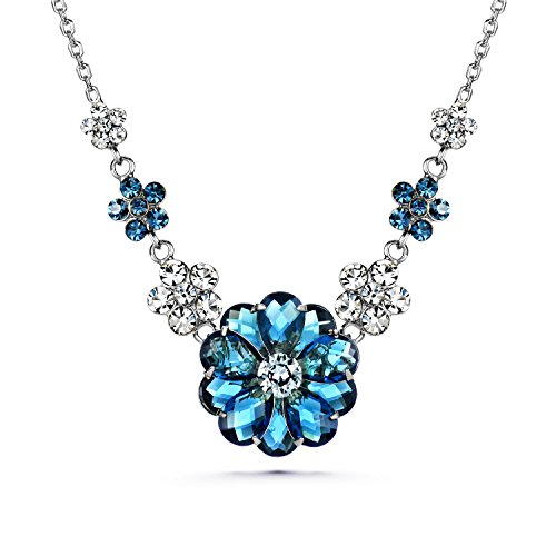 (JOUDOO Woman Jewelry 16K Gold Swarovski Crystal Blue Flower Necklace Inlaid Chain (platinum))