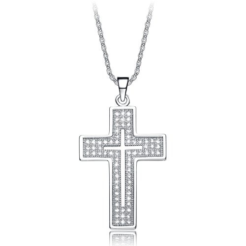 NEEMODA White Gold Plated Cross Pendant Necklace Cubic Zirconia Womens Fashion Religious Jewelry Gift for Her Birthday Anniversary Christmas Valentines Day (Cubic Zirconia Cross Pendant Necklace)
