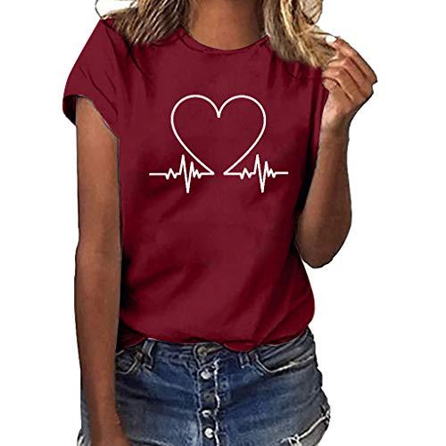 TANLANG☀Women Heart Print Short Sleeve O-Neck T-Shirt Summer Twist Front Tank Tops Loose Casual Sleeveless Shirts Blouses Wine