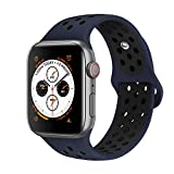 AdMaster Compatible for Watch Bands 42mm 44mm,Soft Silicone Replacement Wristband Compatible for Watch Series 1/2/3/4 - M/L Obsibian/Black