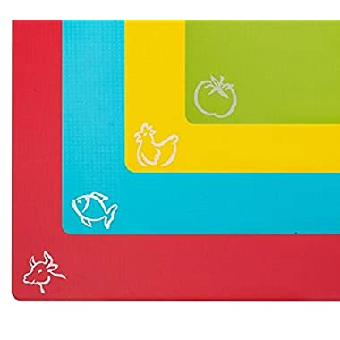 STGA Flexible Board Grade Plastic Kitchen Cutting Mat with Food Icons, Set of 4, 15''×12'' Multicolor