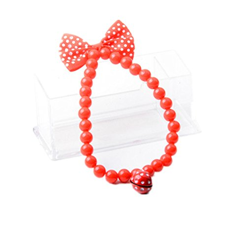 6d Pets Lovely Strawberry and Bowknot Acrylic Small Bell Necklace for (Strawberry Bell)