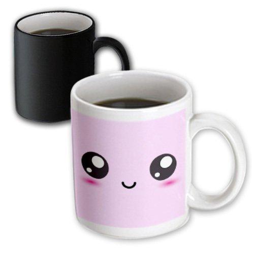 3dRose Pastel Pink Smiley Square, Kawaii Cartoony Smiling Face, Magic Transforming Mug, 11-Oz