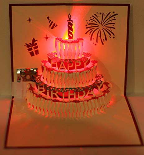 Amazon 3D Pop Up Greeting Cards LED Light Happy Birthday Music Card Postcards Cake Office Products