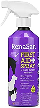 RenaSan Spray de Primeros Auxilios 500ml - para Todos los Animales, Perros, Gatos, Mascotas pequeñas y Grandes, Caballos, Reptiles, Aves de Corral y Aves, Animales de Granja