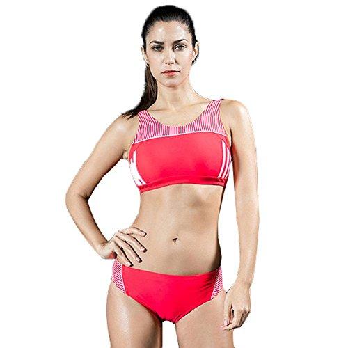 Traje de Baño del Bikiní 2Piece del Traje de Natación del Deporte de las Mujeres y Color de la ropa de deportes 3 Red