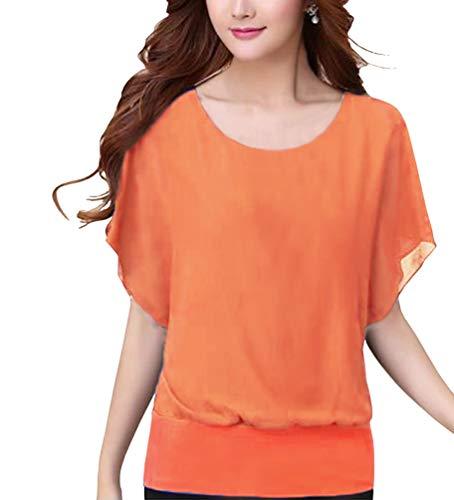 Csbks Womens Short Sleeve Chiffon Shirt Tops Loose Casual Blouse Orange Large