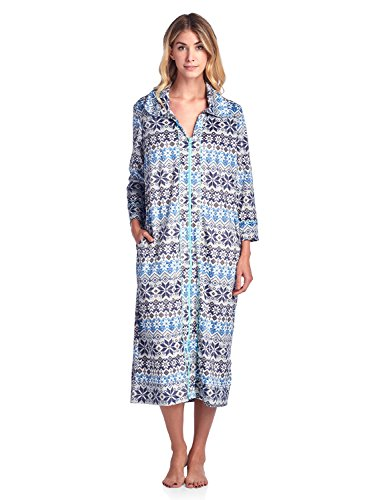 - Ashford & Brooks Women's Long Zip Up Mink Fleece Lounger Robe - Fair Isle Ivory - Medium