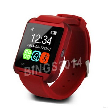 Bluetooth Smart Watch WristWatch U8 U Watch para iPhone 4/4S/5/5S Samsung S4/Note 2/Note 3 HTC Android Phone Smartphones (rojo)