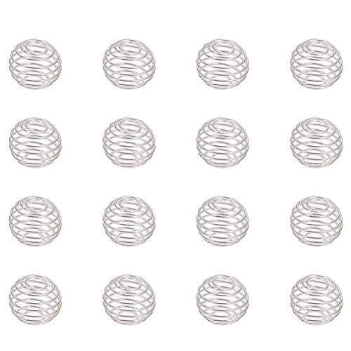 10mm Clasp Pearl Ball - PandaHall Elite About 50Pcs Iron Wrap-around Spiral Round Bead Cages in a Box for Pendants Making with Diameter 10-15mm Silver