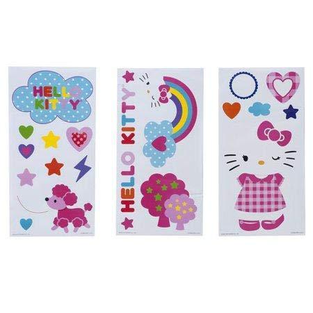 (Hello Kitty Wall Decor Art Sheets Self Adhesive Hearts Rainbow for Home, Baby, Girls, Kids Bedroom or Nursery - 3 Sheets)