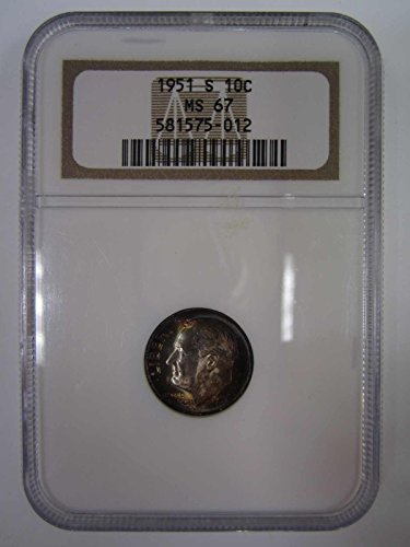 1951 No Mint Mark Roosevelt Dime NGC MS67