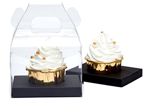 Yotruth Clear Cupcake Box Individual With Handle and Black Insert 20 Pack for Jumbo and Standard Cupcakes