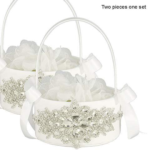 (LAPUDA Two Pieces one Set, Flower Basket Series-Wedding Flower Basket, Flower Girl' Basket, Rhinestone Flower Basket Style HL0247 (White))