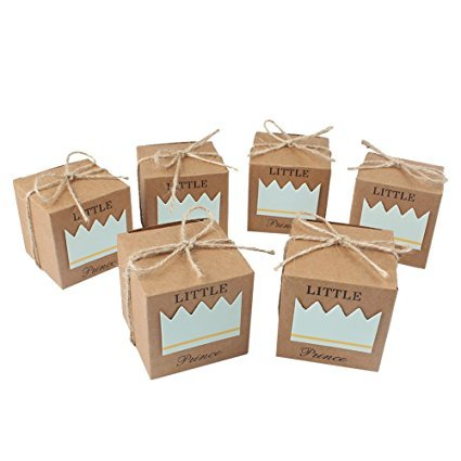 Boxwinds 50pcs Little Princess Baby Shower Kraft Favor Boxes with 50pcs Twine Bow,Gift Box Candy Boxes Baby Shower Decorations Wedding Favors and Gifts Box for Guests 222inch Party Supplies (Blue) ()