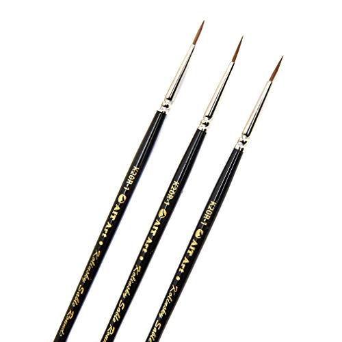 AIT Art Premium Round Detail Kolinsky Paint Brushes, Size 1, Pack of 3, Pure Russian Red Sable, Handmade in USA for Crafting Exquisite Details Using Oil, Acrylic, or Watercolors