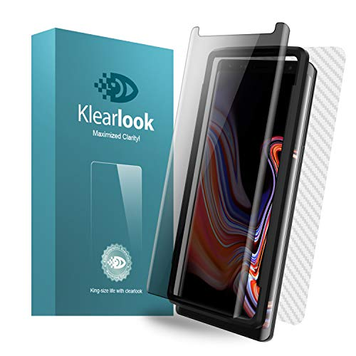 Galaxy Note 9 Privacy Screen Protector, Klearlook Unique [Privacy Defender] Anti Spy Tempered Glass, Includes [Back Carbon Fiber Skin Sticker] Anti Peeking Screen Protector for Samsung Galaxy Note 9