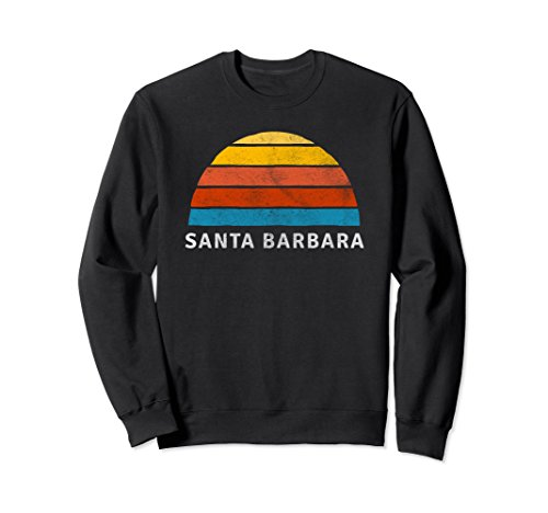 Unisex Santa Barbara Retro Sunset Sweatshirt Medium Black ()