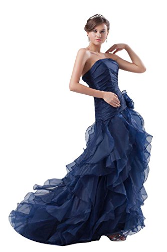Beauty-Emily Maxi Tulle Sleeveless Ruching Pleat Flower Zipper Christmas Gifts Night Evening Dresses Color Dark Blue,Size US20W by Beauty-Emily (Image #2)