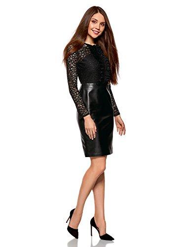 oodji Collection Mujer Vestido Combinado con Parte Superior de Encaje y Falda de Piel Sintética Negro (2900n)