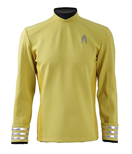 Fancycosplay Mens Yellow Cosplay Costume Commander Halloween Shirt (Custom made) (Captain Kirk Outfit)