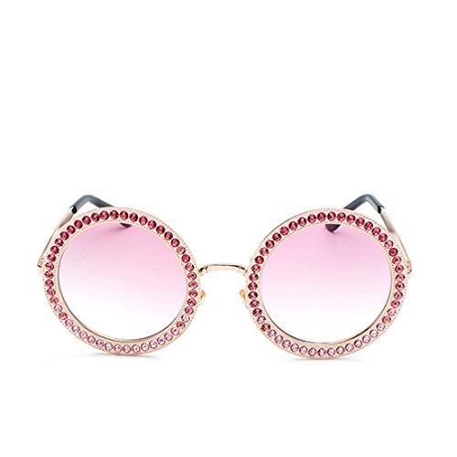 policarbonato gafas Dorado Lentes Marco de redondas de Grandes de metal diamantes Sra Rosa sol de Aiweijia OCwq4Cx