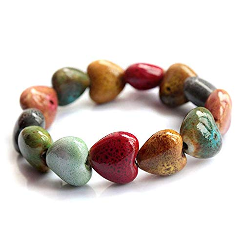 Gshy - Pulsera de perlas de arcilla multicolor, decoración floral de estilo étnico, pulsera para mujer y accesorios de niñas, de cerámica, 1 unidad