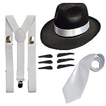 RS FASHIONS Men's Deluxe Gangster Fancy Set Trilby Hat + Suspender Brace +Tie