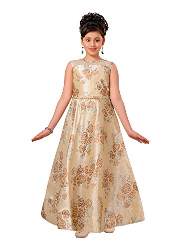 (ADIVA Girl's Indian Party Wear Gown for Kids (G-1781-CREAM-26))
