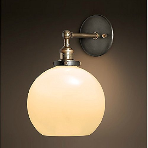 OAKLIGHTING Globe Vintage Wall Lamp Light Glass Sconce Fixture Lighting 1 Free Retro Bulb (White) (Oak One Light Ancient)