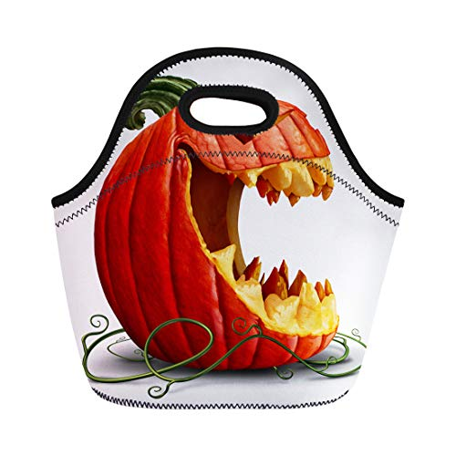 Semtomn Neoprene Lunch Tote Bag Halloween Pumpkin and Scary Jack O Lantern Character Reusable Cooler Bags Insulated Thermal Picnic Handbag for Travel,School,Outdoors,Work ()