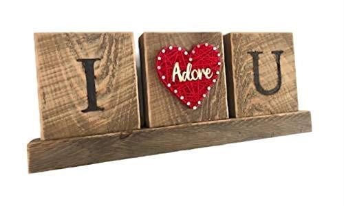 String art I love and adore you gift sign plaque. Great Valentine's Day gift