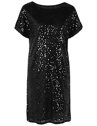 0a60921c3ba459 PrettyGuide Women's Sequin Cocktail Dress Loose Glitter Shift Party Tunic  Dress