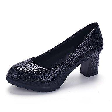 Talones de las mujeres Primavera Verano Otoño Invierno Club de zapatos de la comodidad de la PU de oficina y carrera de ropa informal tacón grueso Otros Negro Blanco Rosa Caminar Black