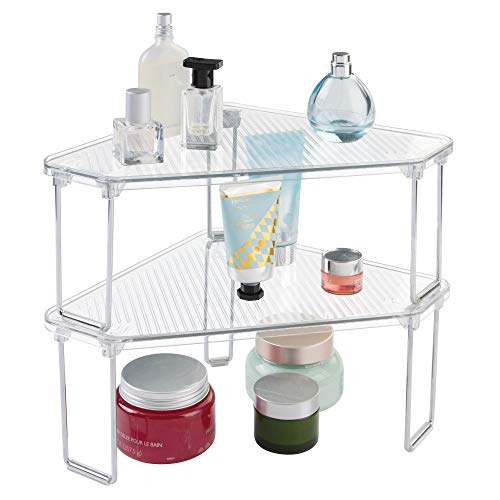 mDesign Corner Plastic/Metal Freestanding Stackable Organizer Shelf for Bathroom Vanity Countertop or Cabinet for Storing Cosmetics, Toiletries, Facial Wipes, Tissues, 2 Pack - ()
