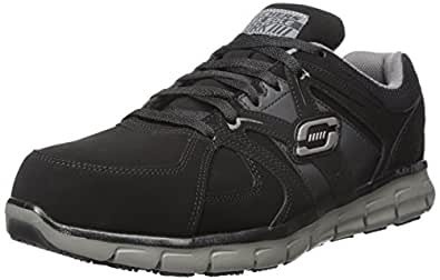 Skechers for Work Men's Synergy Ekron Work Shoe, Black/Charcoal, 9 W US