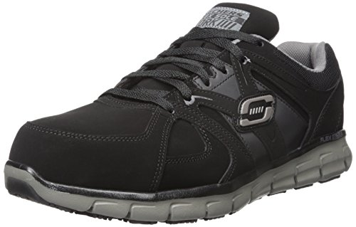 Skechers for Work Men's Synergy Ekron Work Shoe, Black/Charcoal, 9 W -