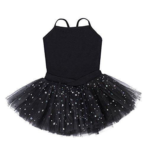 Bindun Girls' Glitter Camisole Tutu Dress Leotard Dance Costumes Black 4-6Years