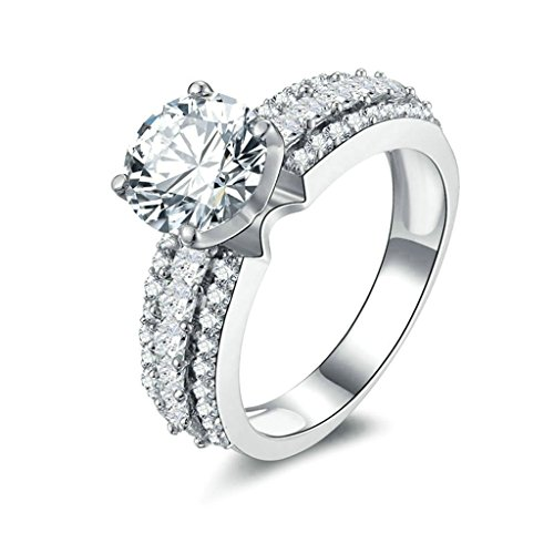 [Women Wedding Rings Silver Plated 3 Row Cubic Zirconia Personalized Rings Custom Made Size 6 by] (Holiday On Ice Costumes For Sale)