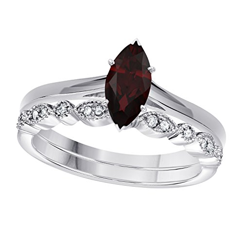 Gems and Jewels 1.00 Ct Marquise Shape & Round Cut Red Garnet & White CZ Diamond 14k White Gold Plated Art Deco Vintage Design Wedding Bridal Set Engagement Ring