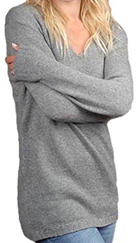 Balldiri 100% Cashmere Kaschmir Damen V Pullover 6-fädig grau XS