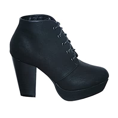 Lace up Platform Ankle Round Toe Bootie (5.5, blackG11) [Apparel]