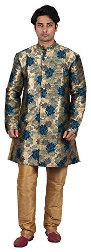 (Maharaja Mens Silk Brocade Sherwani and Pant Set in Green for Weddings and Groom [MSKP034-36])