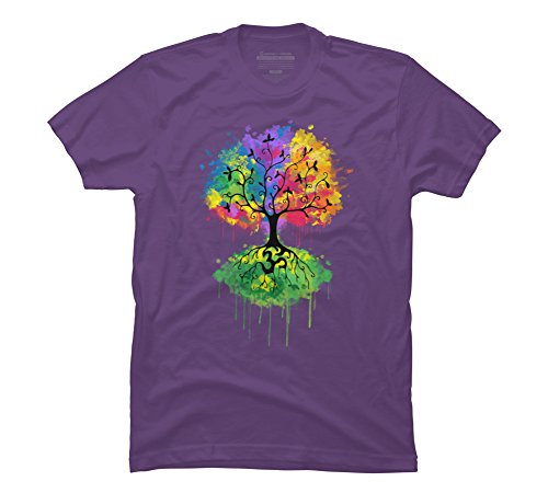 Tree Graphic (Design By Humans Ohm Tree Men's X-Large Purple Graphic T Shirt)