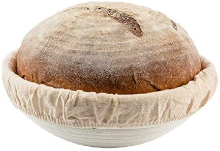 9 inch Round Bread Banneton Proofing Basket & Liner SUGUS HOUSE Brotform Dough Rising Rattan Handmade rattan bowl - Perfect For Artisan (9 inch round)