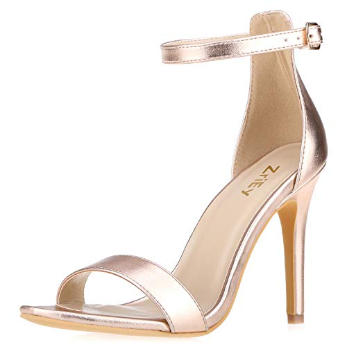 ZriEy Women's Heeled Sandals Ankle Strap High Heels 10CM Open Toe Bridal Party Shoes Rose Gold Size 7 (Rose Bridal Shoes)