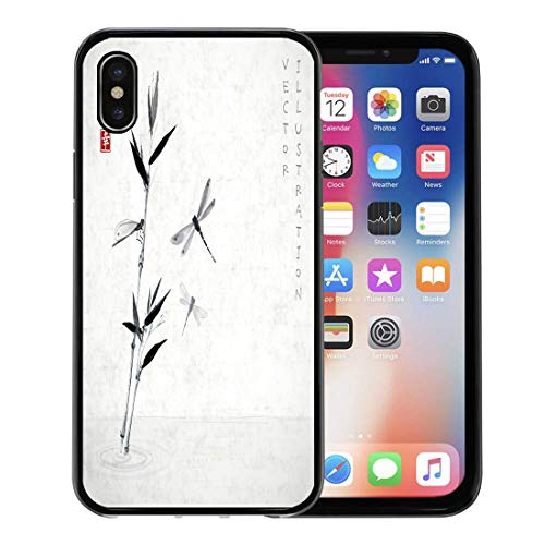 Emvency Phone Case for Apple iPhone Xs Case/iPhone X Case,Bamboo Branch and Three Dragonflies Flying Over The Water Soft Rubber Border Decorative, Black ()